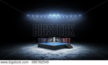 3d Boxer Arena. Isolated Empty Boxing Ring With Light. 3d Rendering. Boxing Ring With Illuminated Sp