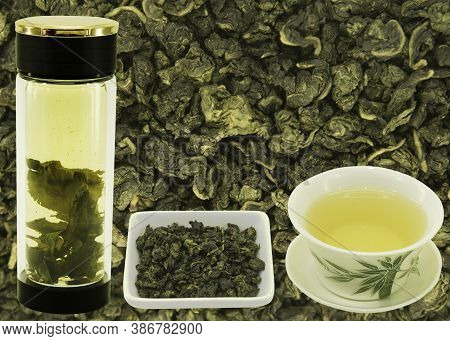 Oolong Chinese Green Milk Tea. Blank For Label Or Design On Tea Background Before Preparation. Conte