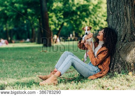 Selective Focus Of Curly Woman In Jeans And Raincoat Holding Jack Russell Terrier Near Tree In Park