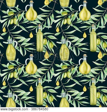 Seamless Pattern Watercolor Green Olive Tree Branch Leaves And Oil Glass Bottle On A Dark Green Back
