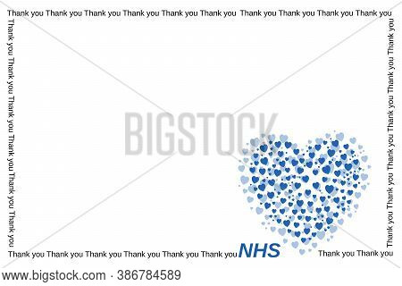Many Small Blue Hearts That Form A Bigger One And  Letters