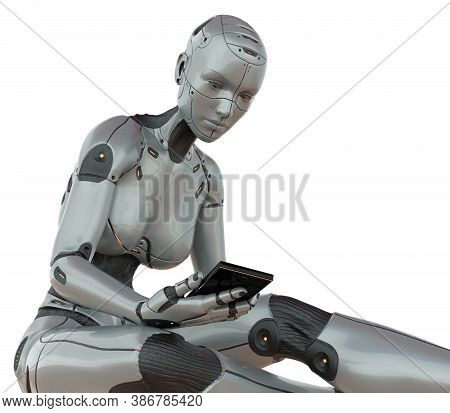 Cyborg Girl With Smartphone Concept Isolated On White Background 3d Illustration