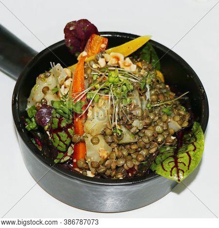 Lentil Salad With Veggies, Healthy Food, Vegetarian And Vegan,mediterranean Cuisine