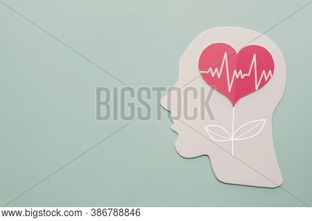 Paper Brain And Heart Tree, World Heart Day, World Mental Health Day And Wellness Concept
