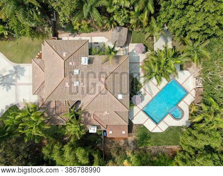 Aerial View Of Large-scale Wealthy Residential Villas With Swimming Pool, Encinitas, California, Usa