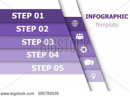 Infographic Design Template With 5 Purple, Stock Vector