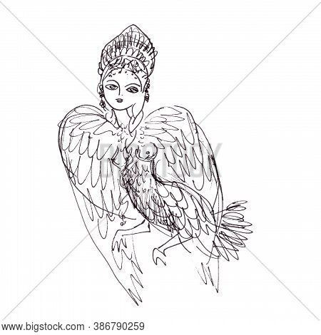 Fantastic Creation Bird With Virgin Head. Mythological Bird With Head Of Woman, Graphic Linear Drawi