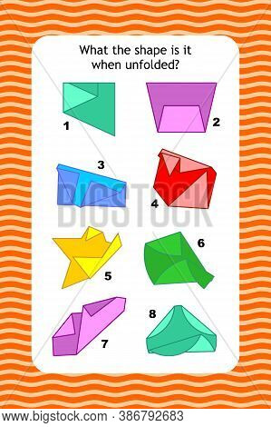 Abstract Educational Visual Puzzle With Unfolded Nets Of Basic 2d Shapes. Spacial Reasoning Skills T