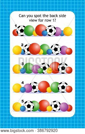 Abstract Educational Visual Puzzle With Rows Of Various Balls. Spacial Reasoning Skills Training.