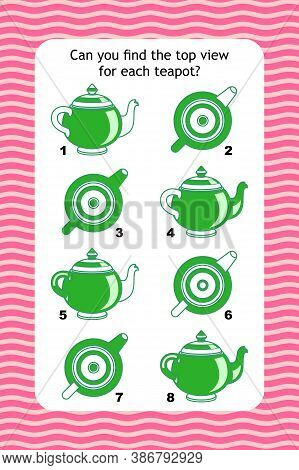 Abstract Educational Visual Puzzle With Top View Of Teapots. Spacial Reasoning Skills Training.