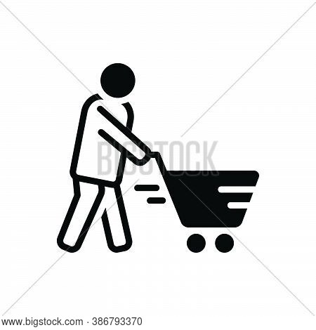 Black Solid Icon For Cart Consumable Customer Trolley Basket Buying-cart Purchase Shopping Consumer
