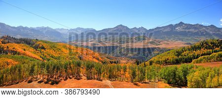 Panoramic view of fall foliage in scenic San Juan mountains , Colorado