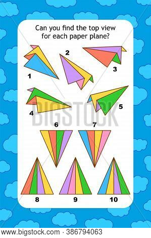 Abstract Educational Visual Puzzle With Top View Of Paper Planes. Spacial Reasoning Skills Training.