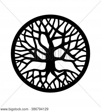 Vector Black Round Tree With Roots And Branches Outline Silhouette Drawing Illustration Isolated On