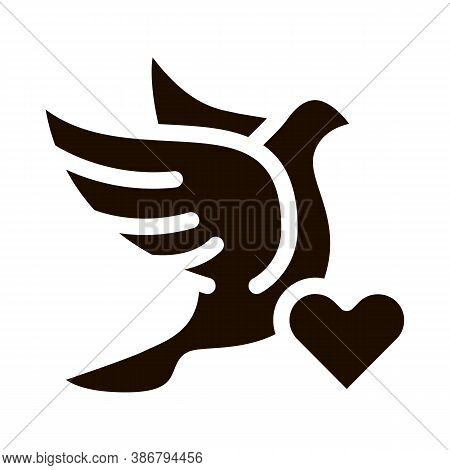 Pigeon And Heart Wedding Glyph Icon. Love Symbol And Pigeon Bird Element Pictogram. Party Preparatio