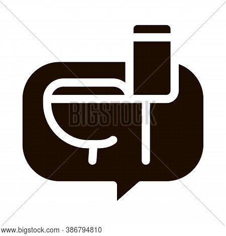 Constipation Symptomp Of Pregnancy Glyph Icon Sign . Lavatory Ware In Text Box Frame, Woman Symptomp