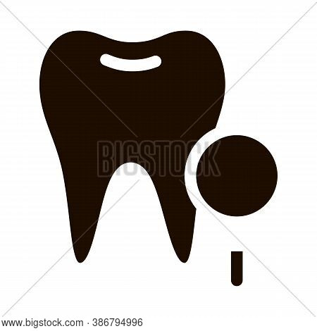 Dentist Stomatology Tooth Survay Vector Sign Icon . Magnifier And Healthy Tooth Enamel Pictogram. Ch