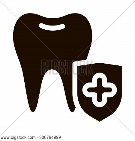 Dentist Stomatology Tooth Protection Glyph Icon Sign . Adamantine Substance Of Tooth Enamel Pictogra