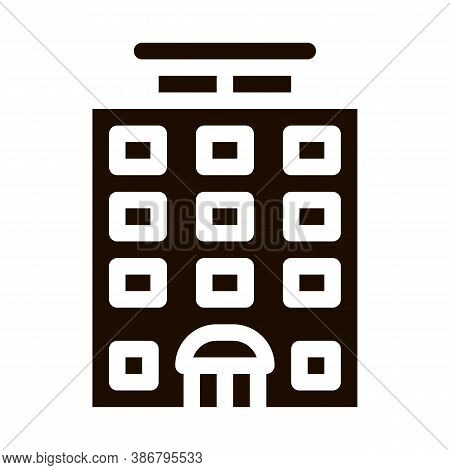 Tower-block Building Vector Sign Icon. High-rise Building Motel, Hotel Performance Of Service Equipm