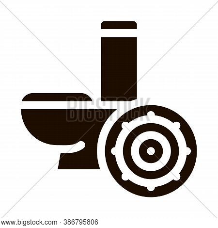Bacteria Germ And Toilet Bowl Vector Sign Icon . Infection Micro Organism From Flush Toilet Pictogra