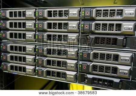 Data center with hard drives