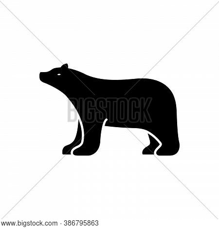 Black Solid Icon For Bear Grizzly Bruin Brown-bear Hunting Omnivores Badge Mammal Fauna Predator Ani
