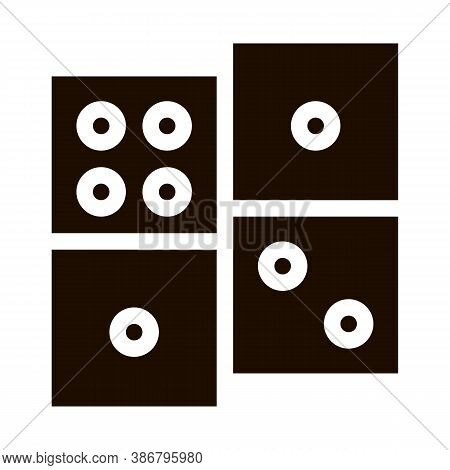 Interactive Kids Game Dominoes Vector Sign Icon . Baby And Adult Dominoes Children Playing Gaming It