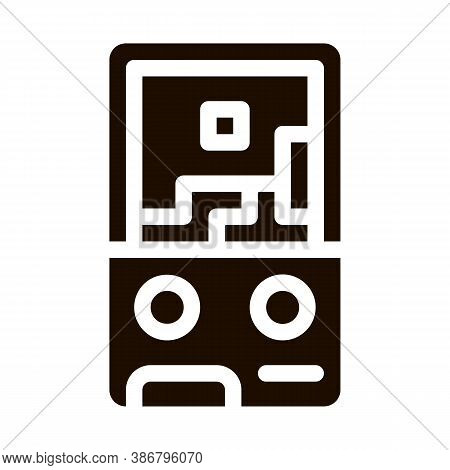 Interactive Kids Video Game Glyph Icon . Baby Electronic Play Game Children Playing Gaming Items Pie