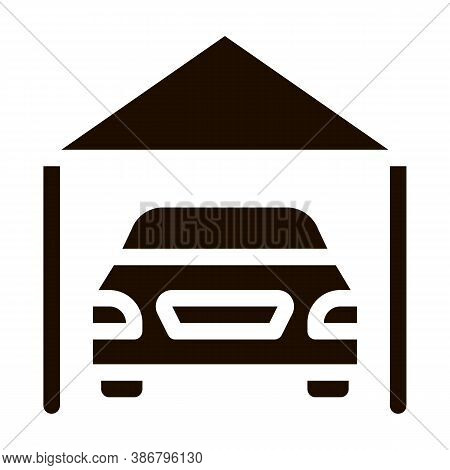 Garage Shed With Car Vehicle Vector Icon. Automobile Autocar In Garage Pictogram. Mortgage On Real E
