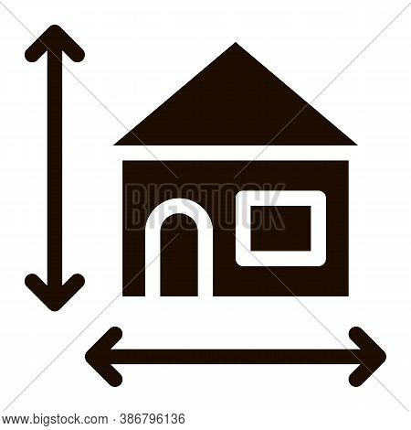 House Size Height And Width Vector Icon. Building Size Dimension Pictogram. Mortgage On Real Estate,