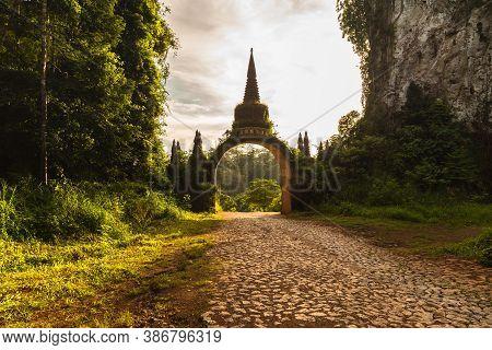 Temple Gate At Khao Na Nai Luang Dharma Park In Surat Thani, Thailand. Unseen Thailand Travel Destin