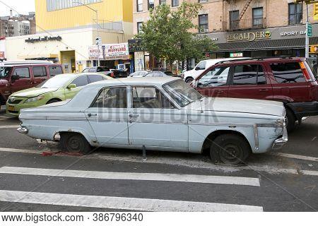 Bronx, New York/usa - September 9, 2019: Abandoned Antique Dodger Parked Near Police Station And Lik