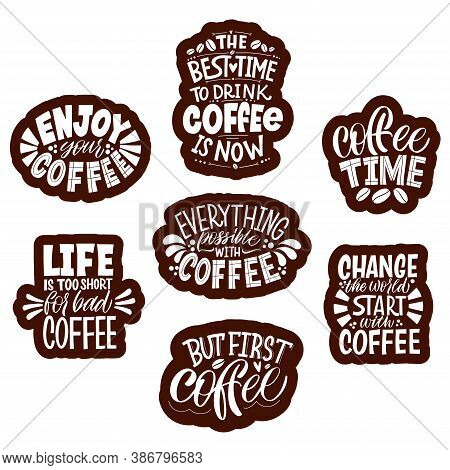 Collection Of Hand Drawn Lettering About Quarantine Coffee. Calligraphy Style Quote. Graphic Design