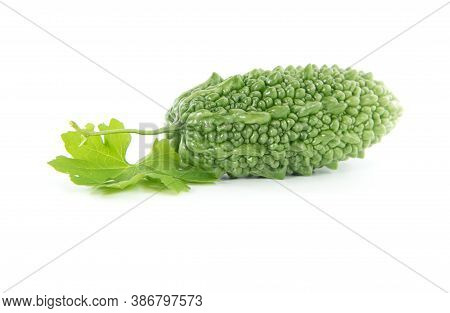 Bitter Gourd Or Bitter Melon Isolated On White Background. Healthy Food Concept