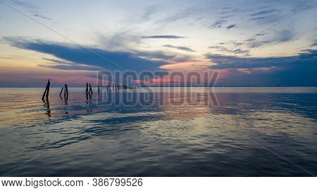 Mayday Park Pier On Mobile Bay From Daphne, Alabama At Sunset