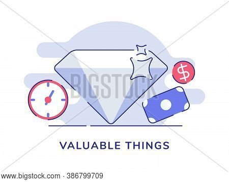 Valuable Things Shiny Diamond Background Of Clock Money Dollar With Flat Outline Style
