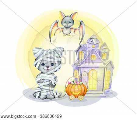 Cat In The Costume Of The Mummy, Bat, Pumpkin, Sweet, Home. Watercolor Concept, In Cartoon Style For