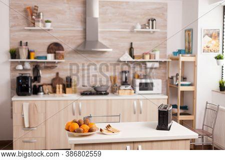 Modern Kitchen Design With Nobody In It - Bread Toaster In Kitchen With Nobody In It. Modern Kitchen