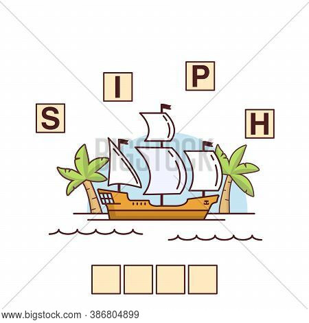 Game Words Puzzle Ship.education Developing Child.sailing Galleon.