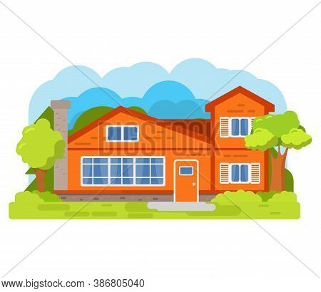 Modern Suburban American House.family Home.townhouse Building Apartment.