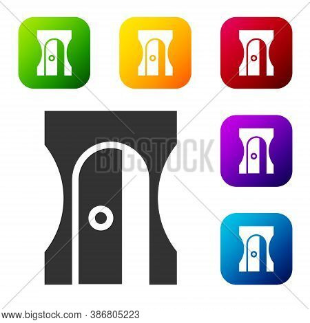 Black Pencil Sharpener Icon Isolated On White Background. Set Icons In Color Square Buttons. Vector