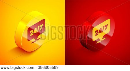 Isometric Clock 24 Hours Icon Isolated On Orange And Red Background. All Day Cyclic Icon. 24 Hours S