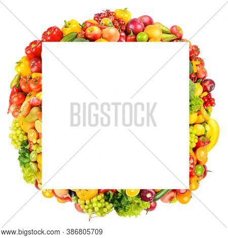 Square frame of bright and colorful fruits, vegetables and berries isolated on white background.