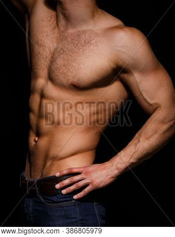Strong Male, Torso Man, Ab, Six Pack. Guy Naked, Muscular Guy. Sexy Male With Muscular Body, Nude To