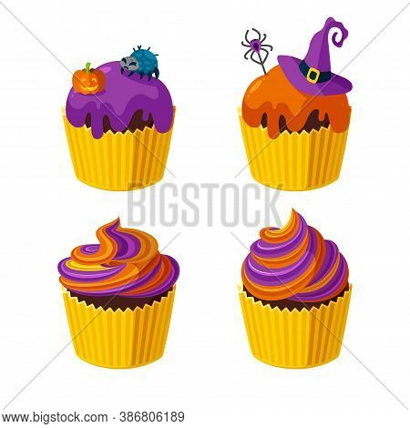 Halloween Cupcakes With Spiders, Witch Hat And Spiral Frosting. Desserts For Halloween Party. Vector