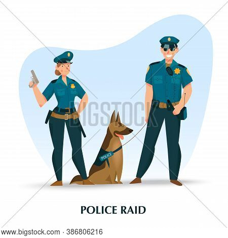 Female Job Concept With Police Raid Symbols Flat Vector Illustration