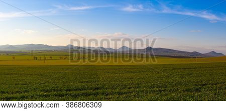 Sunset In Central Bohemian Highlands, Czech Republic. Central Bohemian Uplands  Is A Mountain Range
