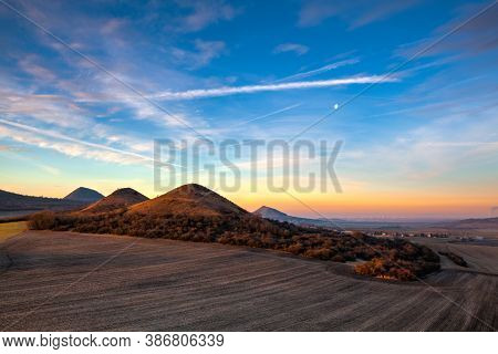 Sunrise In Central Bohemian Highlands, Czech Republic. Central Bohemian Uplands  Is A Mountain Range