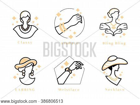 Luxury Woman Logo With Blink Jewel ,pearl Nacklace On Classy Madame,hand With Ring And Wristlace,hat