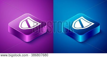 Isometric Shield Icon Isolated On Blue And Purple Background. Guard Sign. Security, Safety, Protecti